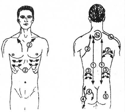 """Статья из  """"Энциклопедии...  Схема движении динамичного баночного массажа при."""